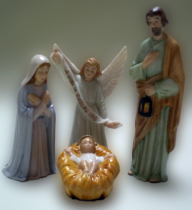 Krippenfigur, Gotisch, Familie, Porzellan
