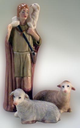 Krippenfigur, Gotisch, Hirte, Schafe, Porzellan