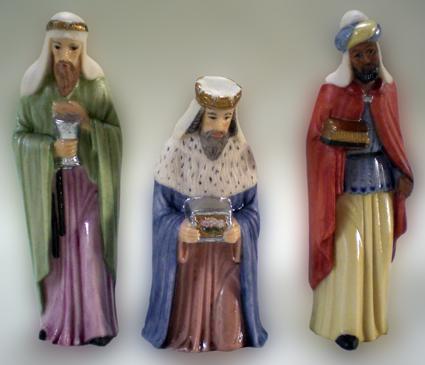 Krippenfigur, Gotisch, Könige, Porzellan
