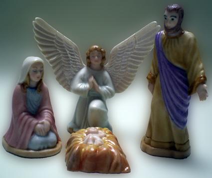 Familie mit Engel, Porzellan, Klassisch
