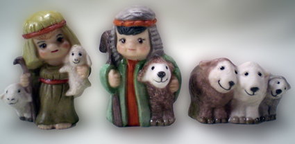Krippenfigur, Naiv, Hirten, Schafe, Porzellan