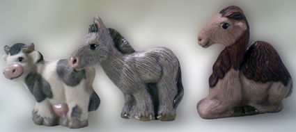 Krippenfigur, Naiv, Tiere, Porzellan